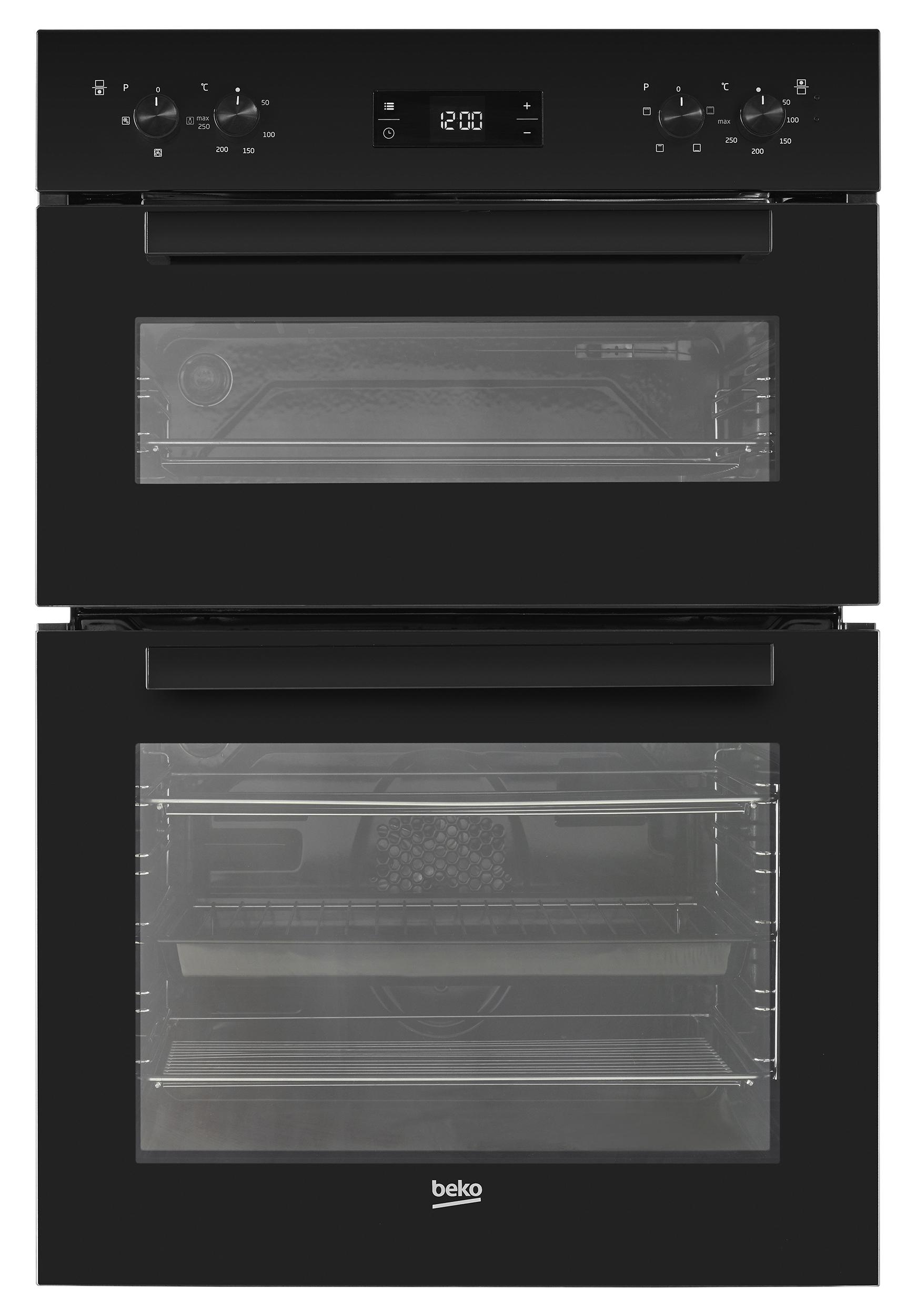beko bdf22300b black eye level built in double oven jack. Black Bedroom Furniture Sets. Home Design Ideas