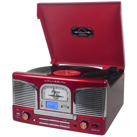Groov E Gvtt03rd Red Retro Series Vinyl Record Player With